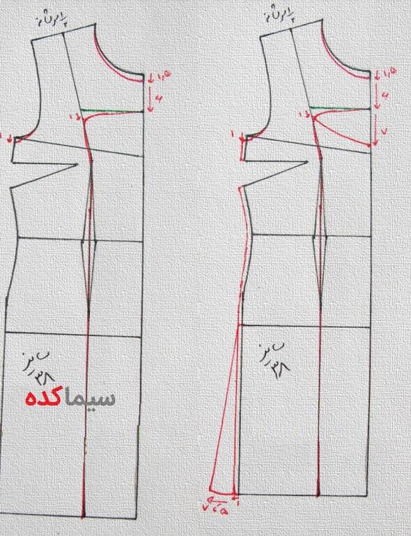 طرز رسم الگوی مانتو همراه با دوخت