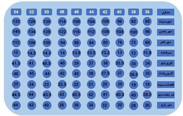 جدول سایزبندی بالاتنه